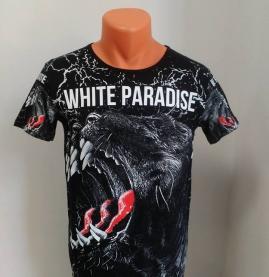 tricou white paradise negru